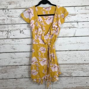 Free People Floral Ruffle Cross Front Dress